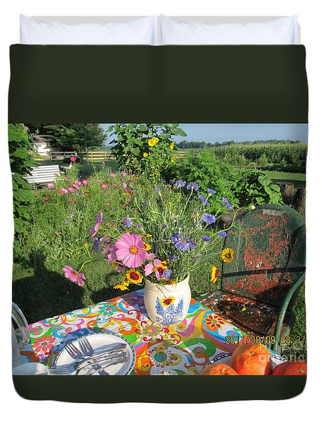 Duvet Cover featuring the photograph Summer Breakfast In The Garden by Tina M Wenger