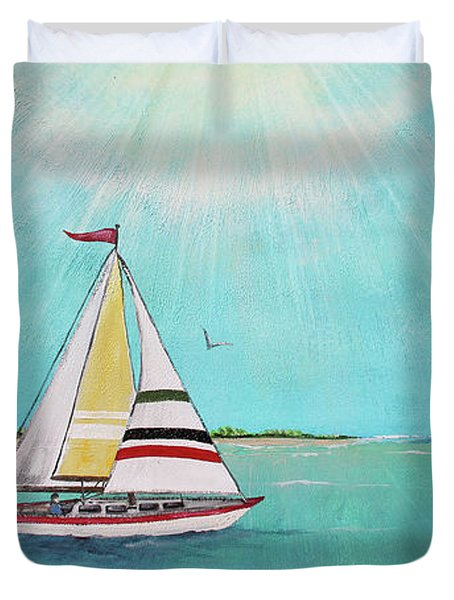 Duvet Cover featuring the painting Summer Breeze-b by Jean Plout