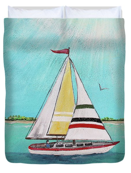 Duvet Cover featuring the painting Summer Breeze-d by Jean Plout