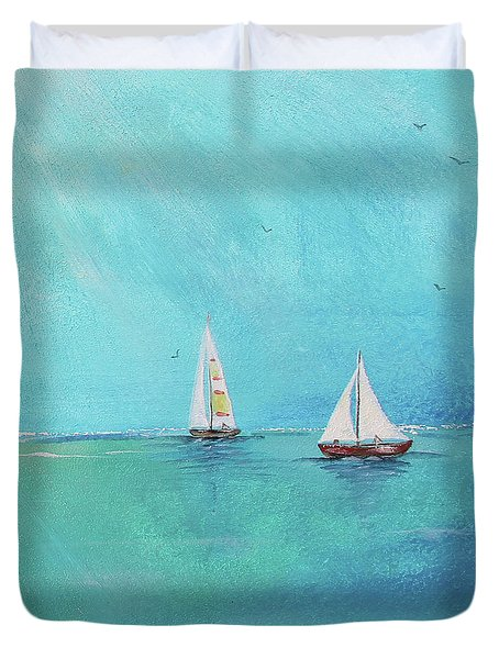 Duvet Cover featuring the painting Summer Breeze-e by Jean Plout