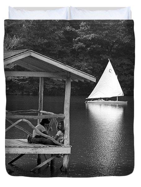 Summer Camp Black And White 1 Duvet Cover