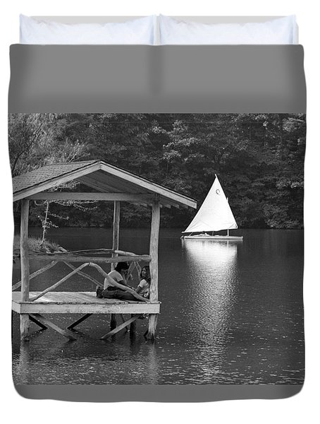 Summer Camp Black And White 1 Duvet Cover