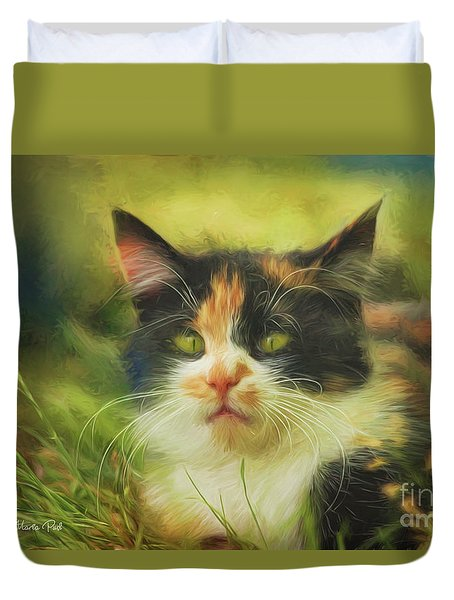 Duvet Cover featuring the photograph Summer Cat by Jutta Maria Pusl