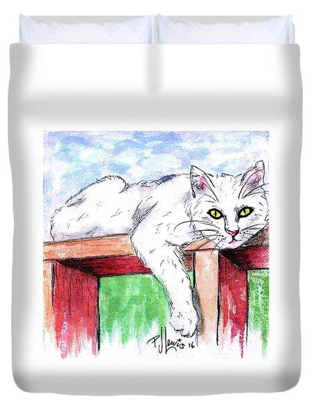 Summer Cat Duvet Cover by P J Lewis