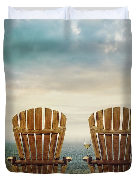 Summer Chairs Sand Dunes And Ocean In Background Duvet Cover