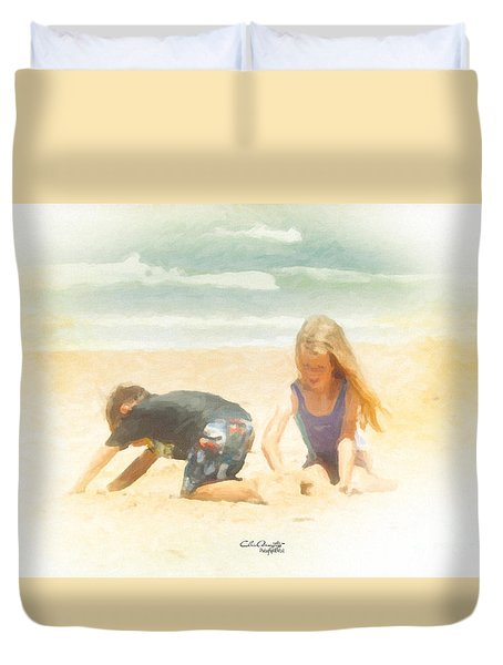 Duvet Cover featuring the painting Summer by Chris Armytage