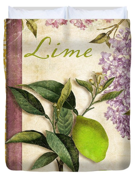 Summer Citrus Lime Duvet Cover by Mindy Sommers