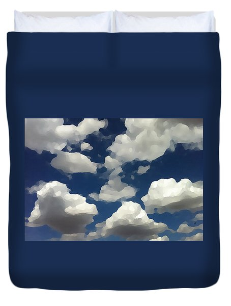 Duvet Cover featuring the digital art Summer Clouds In A Blue Sky by Shelli Fitzpatrick