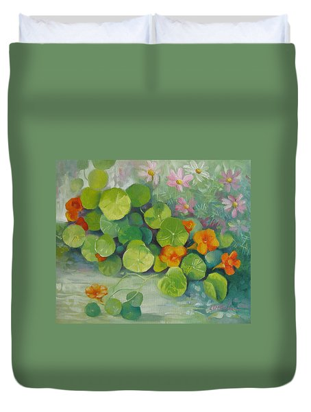 Duvet Cover featuring the painting Summer Colors by Elena Oleniuc