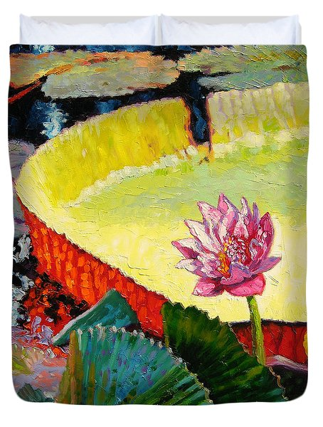 Summer Colors On The Pond Duvet Cover by John Lautermilch