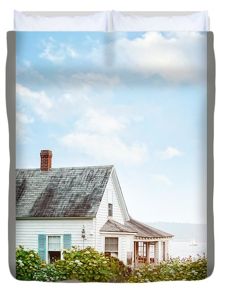 Summer Cottage And Flowers By The Ocean Duvet Cover by Sandra Cunningham
