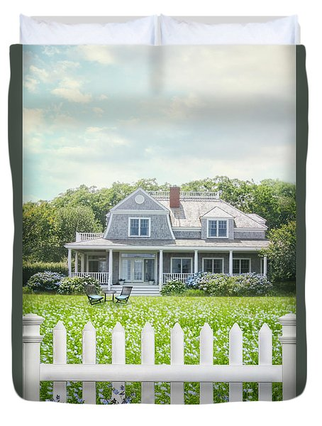 Summer Cottage And White Picket Fence With Flowers Duvet Cover by Sandra Cunningham