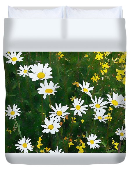 Duvet Cover featuring the digital art Summer Daisies by Julian Perry