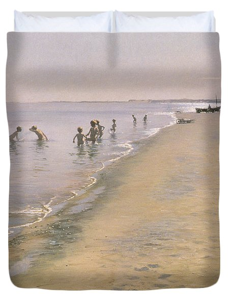 Summer Day At The South Beach Of Skagen Duvet Cover by Peder Severin Kroyer