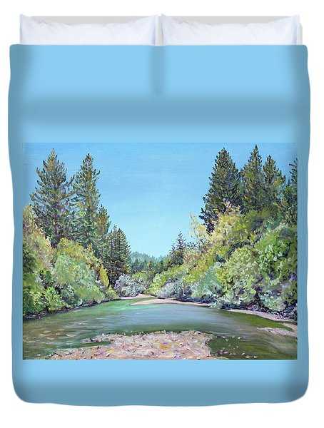 Summer Day On The Gualala River Duvet Cover by Asha Carolyn Young