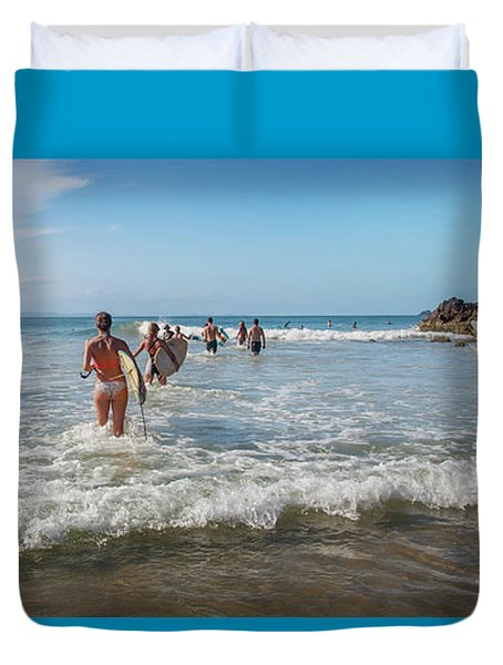 Duvet Cover featuring the photograph Summer Days Byron Waves by Az Jackson