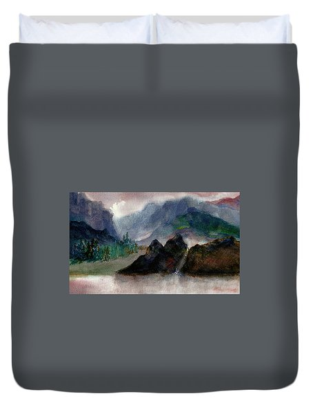 Duvet Cover featuring the painting Summer Elevations by Kathy Bassett