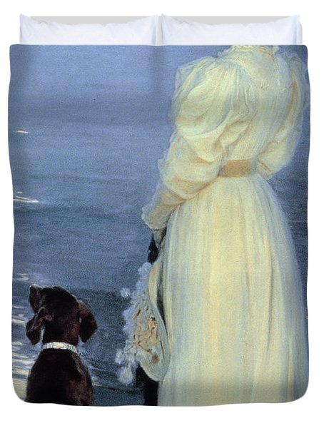 Summer Evening At Skagen Duvet Cover by Peder Severin Kroyer