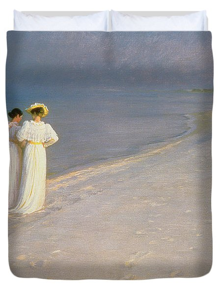 Summer Evening On The Skagen Southern Beach With Anna Ancher And Marie Kroyer Duvet Cover by Peder Severin Kroyer