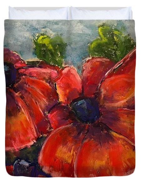 Summer Field Of Poppies Duvet Cover