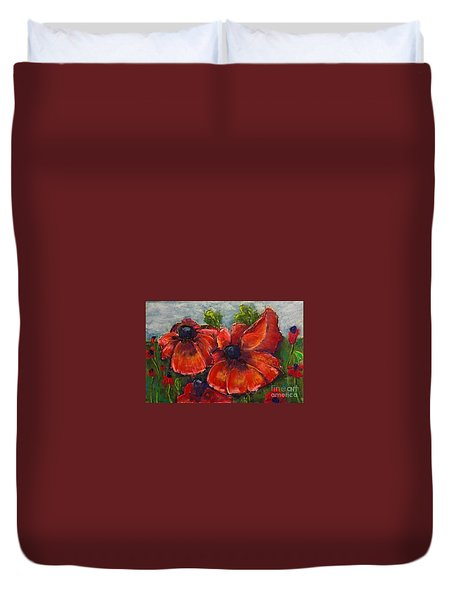 Duvet Cover featuring the pastel Summer Field Of Poppies by Vickie Scarlett-Fisher