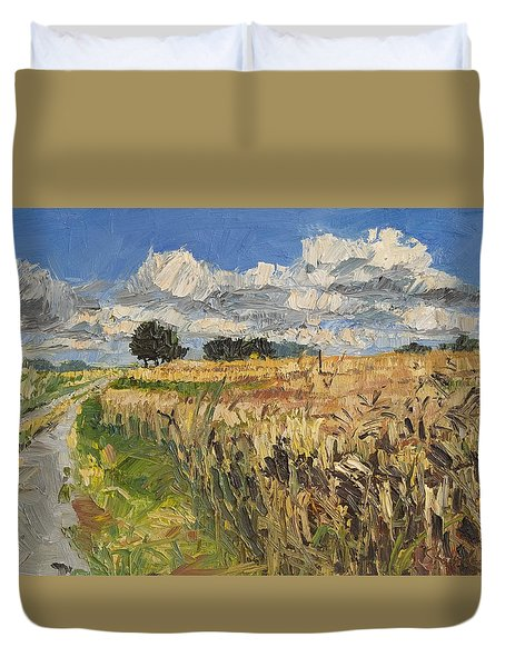 Summer Fields Plein Air Landscape Duvet Cover by Martin Stankewitz