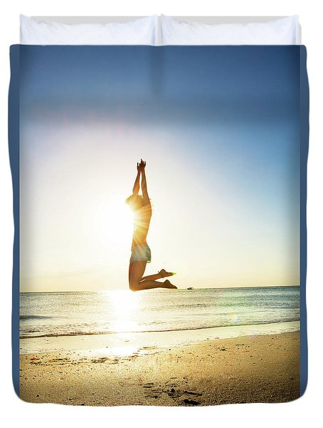 Summer Fitness Girl Duvet Cover