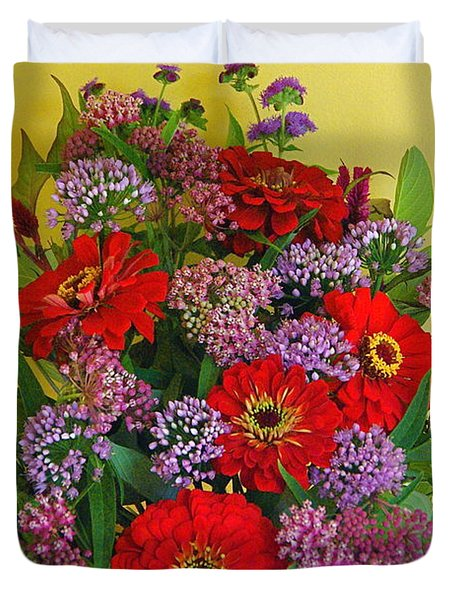 Duvet Cover featuring the photograph Summer Flower Bouquet by Byron Varvarigos