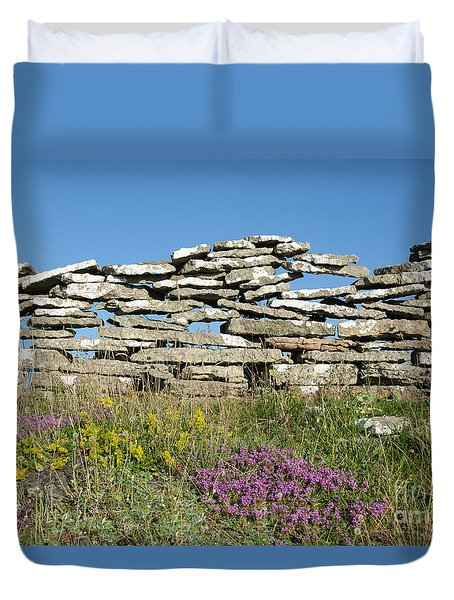 Summer Flowers By An Old Stone Wall Duvet Cover