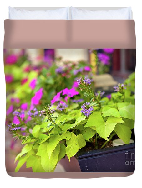 Summer Flowers In Window Box Duvet Cover