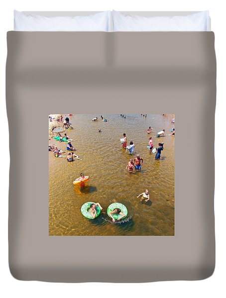 Summer Fun At Duck Creek Duvet Cover