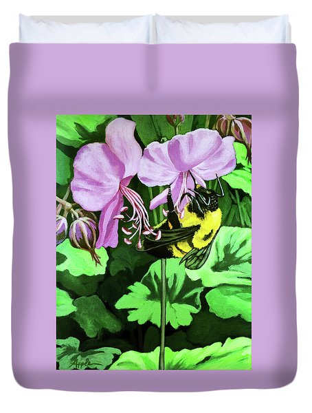 Duvet Cover featuring the painting Summer Garden Bumblebee And Flowers Nature Painting by Linda Apple