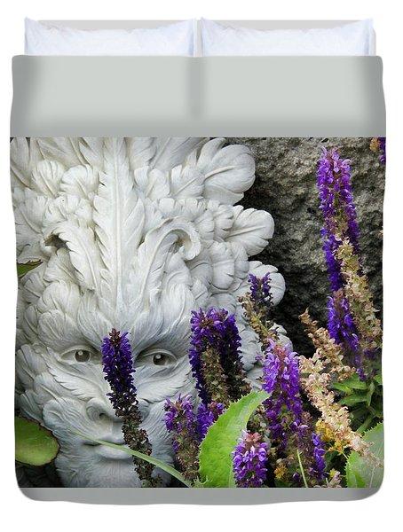 Duvet Cover featuring the photograph Summer Garden Faery by Kathy Bassett