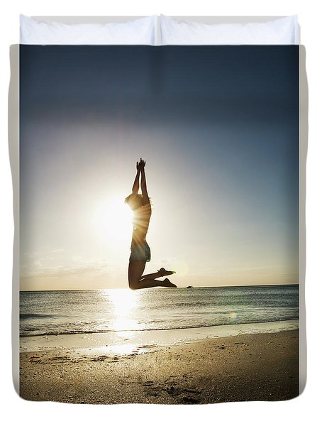 Summer Girl Summer Jump  Duvet Cover by Amyn Nasser