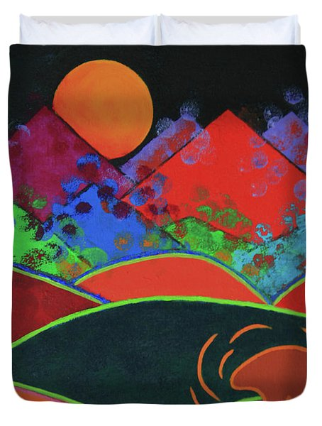 Duvet Cover featuring the painting Summer Guardian Bear by Jeanette French