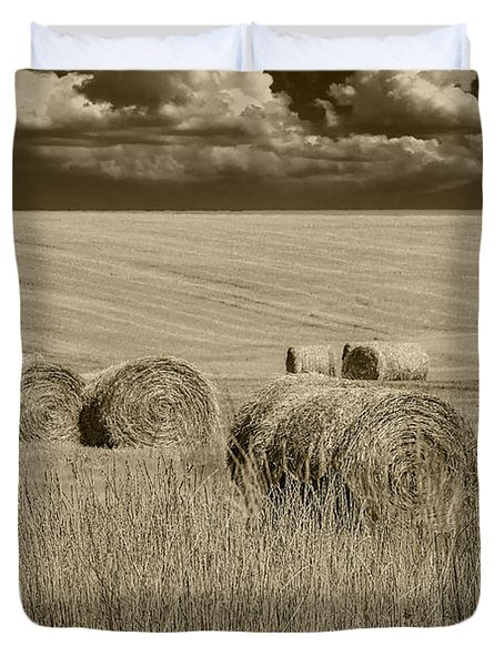 Summer Harvest Field With Hay Bales In Sepia Duvet Cover by Randall Nyhof