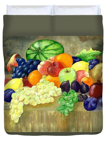 Duvet Cover featuring the painting Summer Harvest by Sharon Mick
