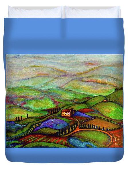 Duvet Cover featuring the painting Summer Hills by Rae Chichilnitsky