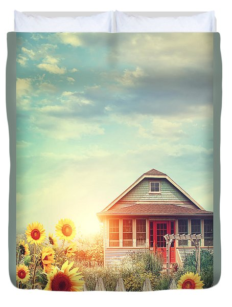 Summer House With A Garden Full Of Flowers Duvet Cover by Sandra Cunningham
