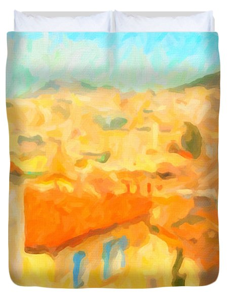 Summer In Athens Duvet Cover
