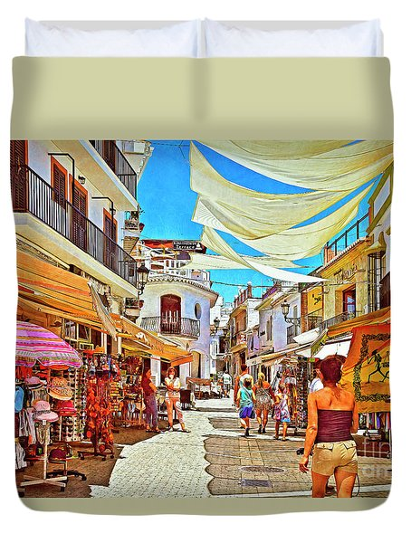 Duvet Cover featuring the photograph Summer In Malaga by Mary Machare