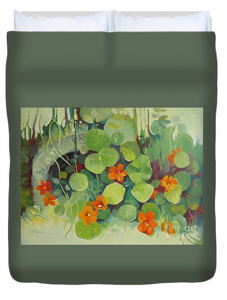 Duvet Cover featuring the painting Summer In The Garden by Elena Oleniuc
