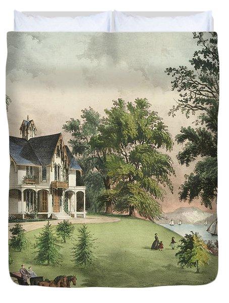 Summer In The Highlands, 1867 Duvet Cover