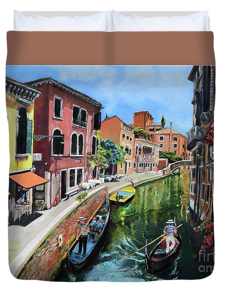 Duvet Cover featuring the painting Summer In Venice - Venezia - Dreaming Of Italy by Jan Dappen