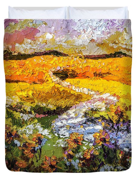 Duvet Cover featuring the painting Summer Landscape Sunflowers Provence by Ginette Callaway