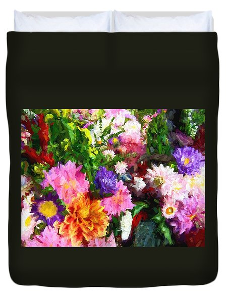 Duvet Cover featuring the photograph Summer Market Floral by Kathy Bassett