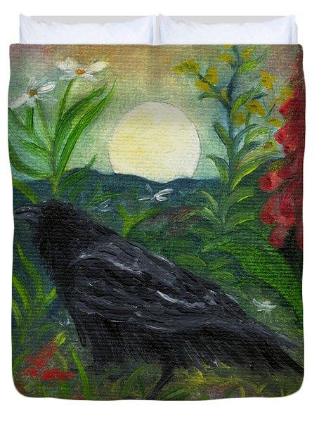 Summer Moon Raven Duvet Cover