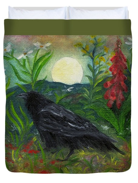 Summer Moon Raven Duvet Cover