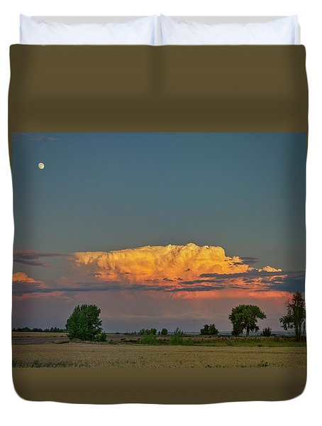 Duvet Cover featuring the photograph Summer Night Storms Brewing And Moon Above by James BO Insogna