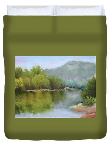 Duvet Cover featuring the painting Summer On The River by Nancy Jolley